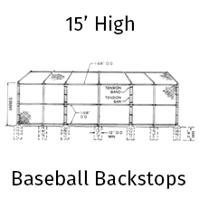 Unassembled Canopy Baseball Backstops on fence shopping