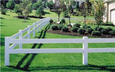 2 Rail Post and Rail Vinyl Fencing