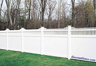 The Huntington vinyl pvc fence allows the homeowner a decorative scalloped design.