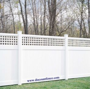 Westminster has the larger tongue and groove privacy vinyl fence base with a soft lattice topper.