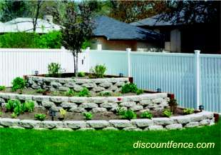 "Imperial Vinyl Fence from Buffech is part of the Semi-Private Collection offering  9/16"" spacing"