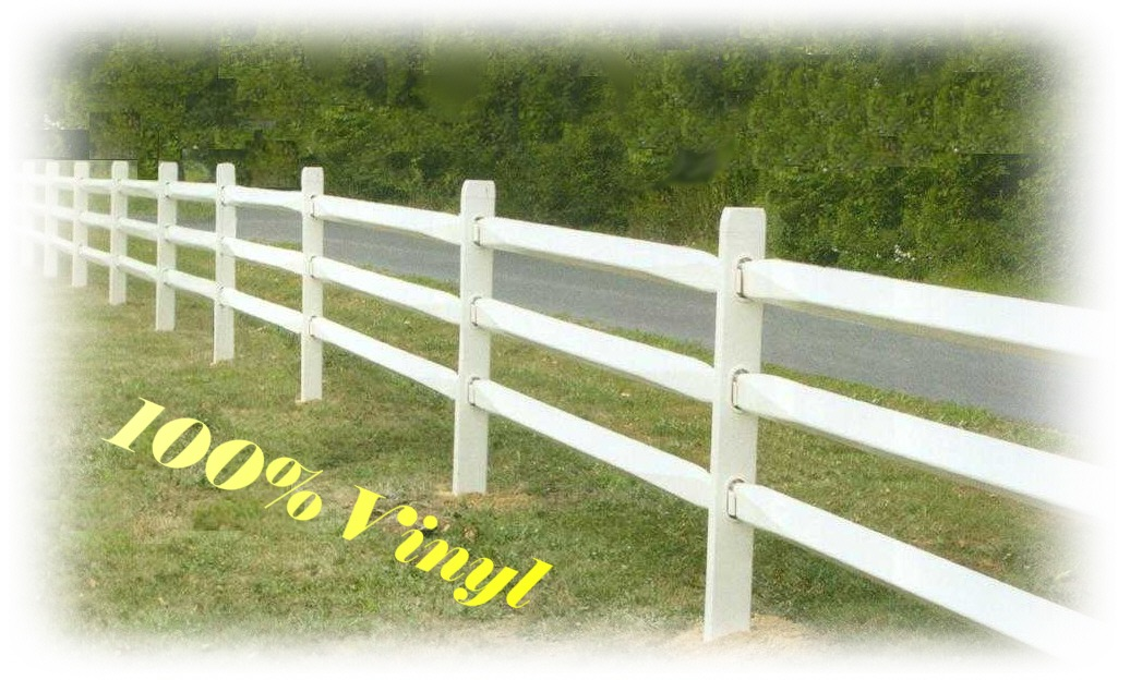 vinyl split rail fence in a field