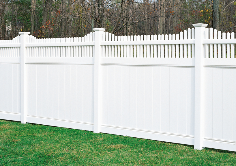 The Chesterfield Huntington Vinyl Fence Section now has the option of a scalloped picket finished look to go along with the privacy and deco rail.